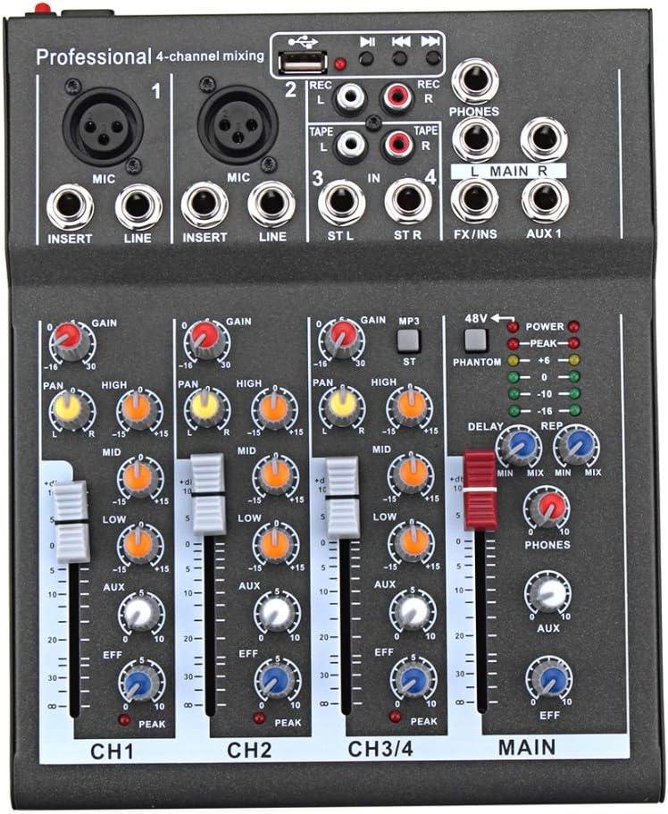 LYNQYGmixer de Audio Equipo de sintonización del Canal 4 Karaoke Profesional Mezclador de Audio Amplificador Mini micrófono de Sonido Consola de Mezcla con USB 48V Phantom Power Supply