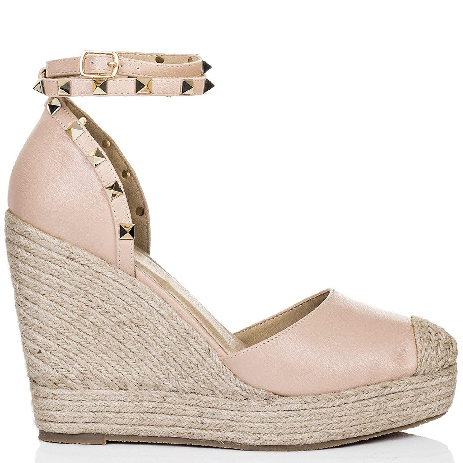 619000eaa2d8 SPYLOVEBUY TANAMI Women s Platform Stud Wedge Heel Barely There Espadrille  Sandals Shoes  Amazon.co.uk  Shoes   Bags