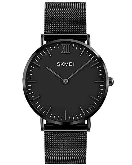 INWET Relojes de Pulsera para Hombres Acero Inoxidable Ultra Plano Malla Banda Reloj de Pulsera Negro: Amazon.es: Relojes
