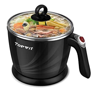 Topwit Electric Hot Pot Mini, 1.2 Liter Electric Cooker, Noodles Cooker, Electric Kettle with Multi-Function for Steam, Egg, Soup and Stew with Over-Heating Protection, Boil Dry Protection, Dual Power