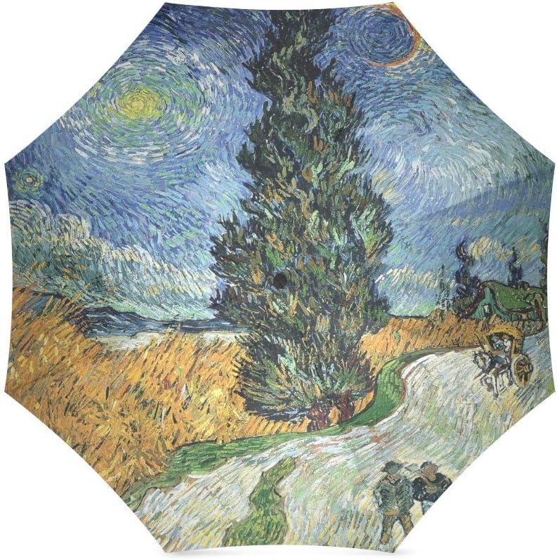 Custom Vincent van Gogh Road with Cypress and Star Compact Travel Windproof Rainproof Foldable Umbrella