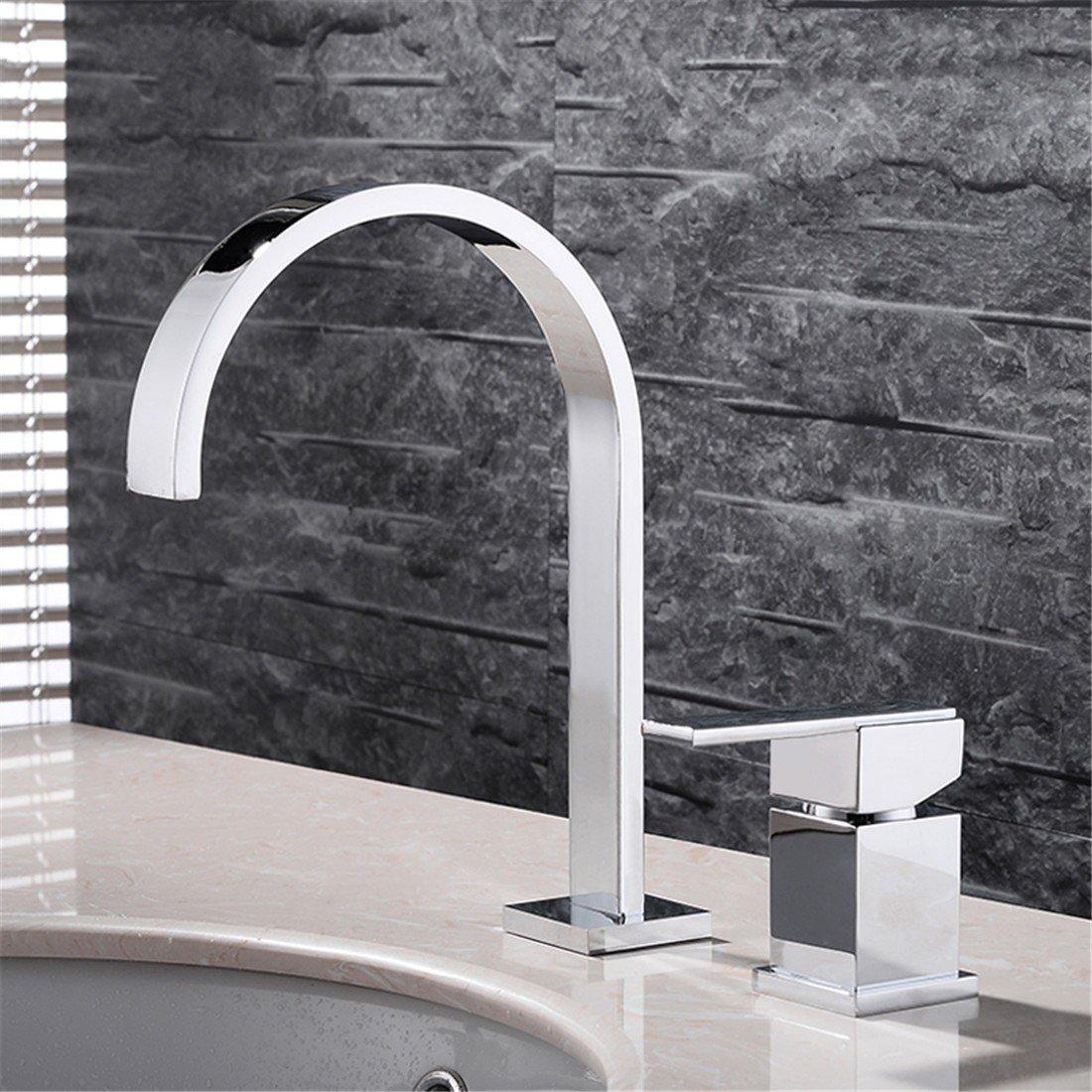Stazsx Contemporary Bathroom Brass Basin tap Antique Retro Basin Mixer Tap Ceramic Valve Core Faucet Bathroom Sink Tap,Single handle double hole basin faucet