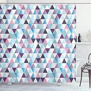 Ambesonne Geometric Shower Curtain, Diamond Shapes Triangle Abstract Pattern Geomatic Fashion Print, Cloth Fabric Bathroom Decor Set with Hooks, 70