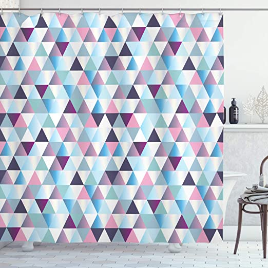 Geometric Shower Curtains Decorative Irregular Triangle Print Fabric Curtains