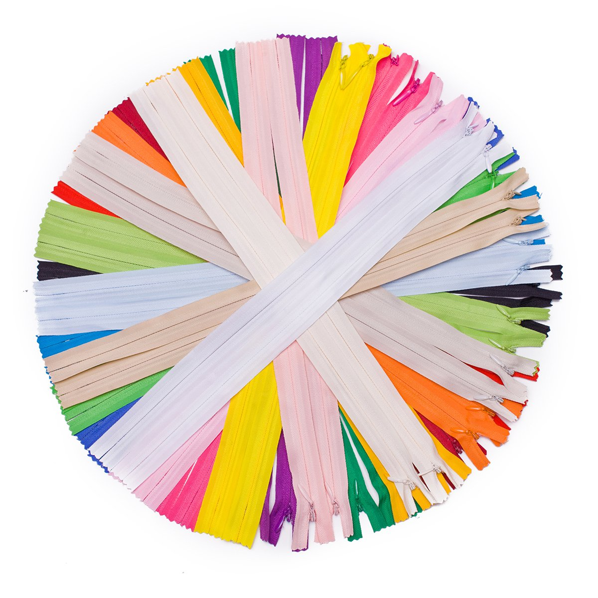 JIUZHU 40 Pieces 22 Inch Nylon Invisible Zippers Bulk for Sewing Crafts (20 Colors)