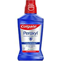 Colgate Peroxyl Antiseptic Mouthwash and Mouth Sore Rinse, 1.5% Hydrogen Peroxide, Mild Mint - 500ml, 16.9 Fluid Ounces