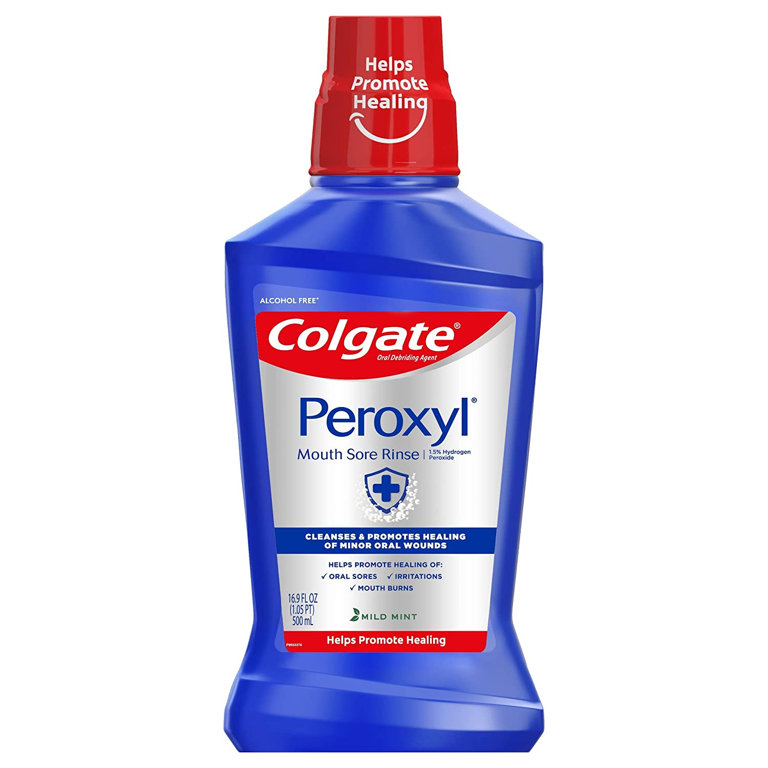 Colgate Peroxyl Mouth Sore Rinse, 1.5% Hydrogen Peroxide, Mild Mint - 500mL, 16.9 fluid ounces : Beauty
