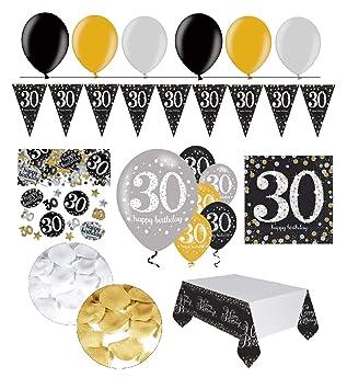 Feste Feiern Geburtstagsdeko Zum 30 Geburtstag 31 Teile All In One Set Luftballon Wimpel Bluten Konfetti Gold Schwarz Silber Party Deko Happy
