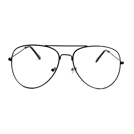 458680cd4e Image Unavailable. Image not available for. Color  VINTAGE Aviator Retro  Metal Square Frame Clear Lens Eye Glasses BLACK