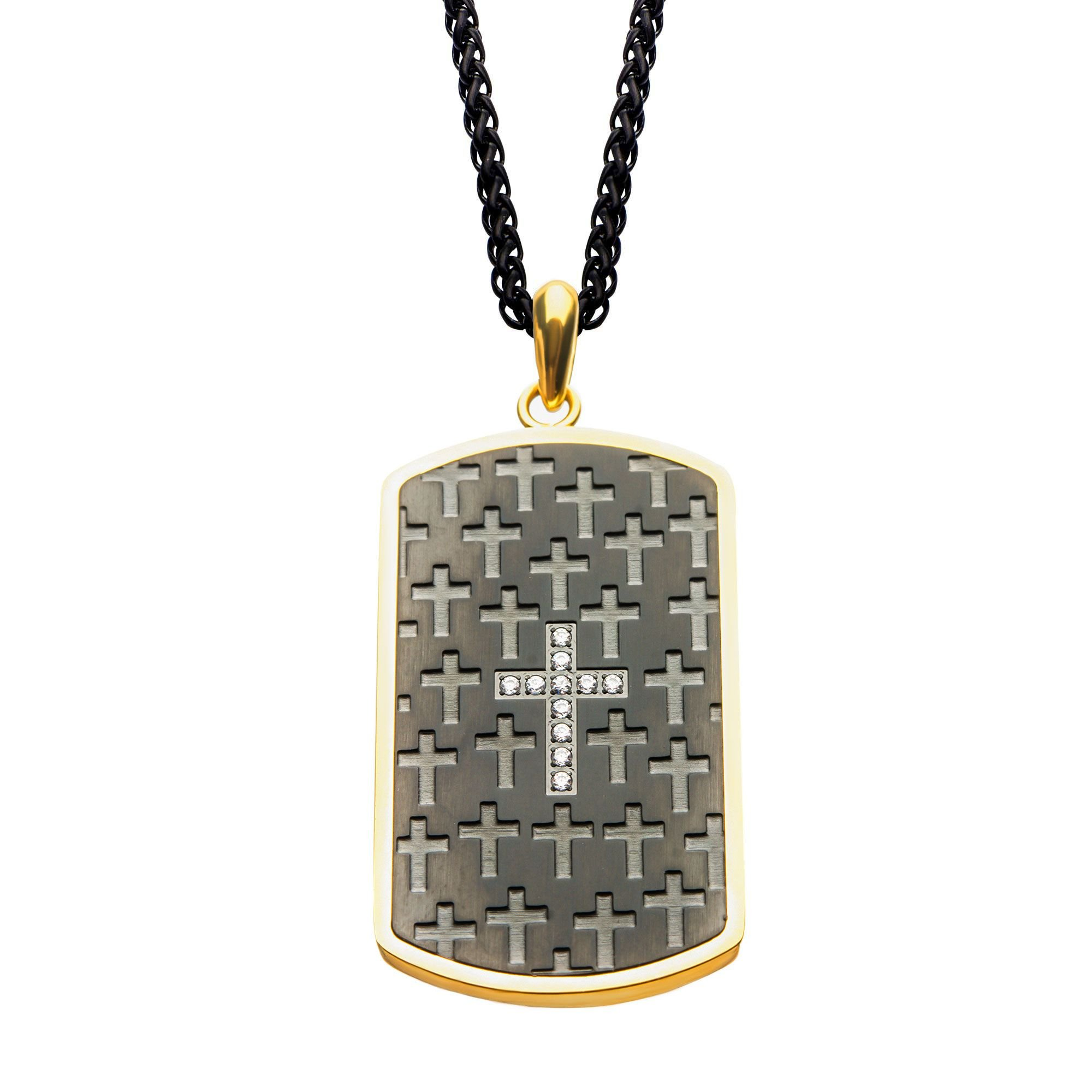 Rare Hills Stainless Steel Black Plated and Gold Plated Dog Tag with Cross Pendant with Chain