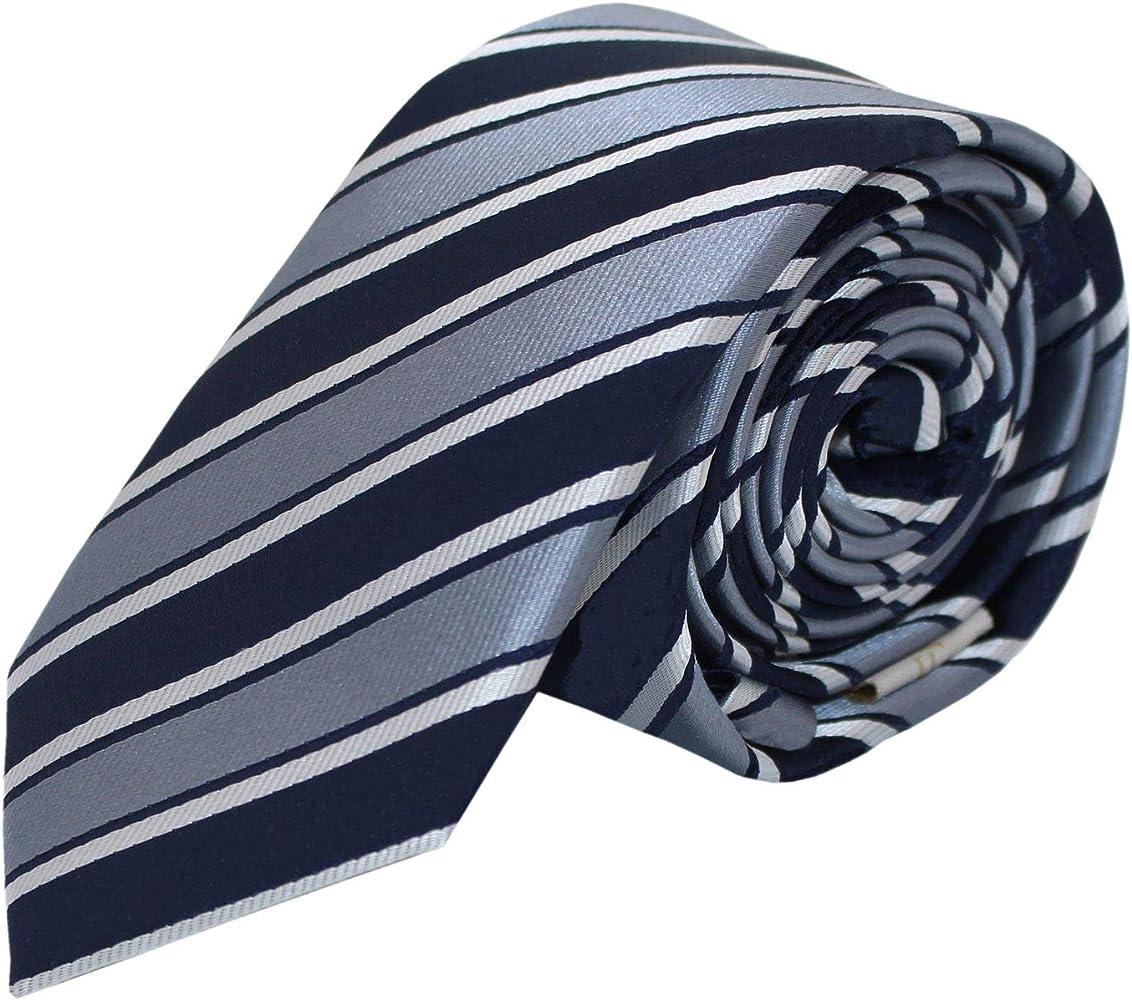 Estrechos Corbata de Fabio Farini de rayas en azul gris blanco ...