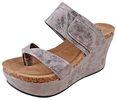 547f24142f Amazon.com | Pierre Dumas Hester-11 Pewter Womens Wedge Sandals Size 8.5M |  Platforms & Wedges