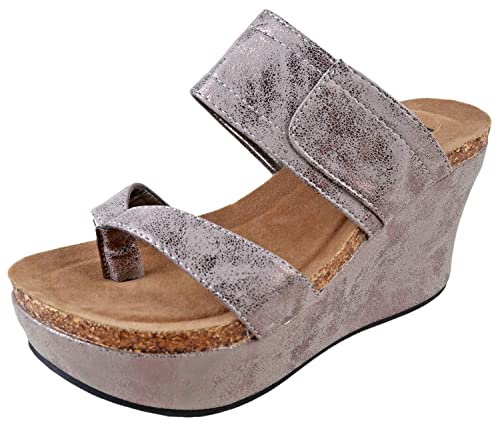 f63ac5ee1e87 Pierre Dumas Hester-11 Pewter Womens Wedge Sandals Size 8M  Amazon.co.uk   Shoes   Bags