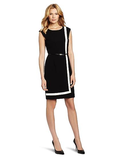 140436fcfd01 Amazon.com  Calvin Klein Women s Sleeveless Belted Color Block Dress ...