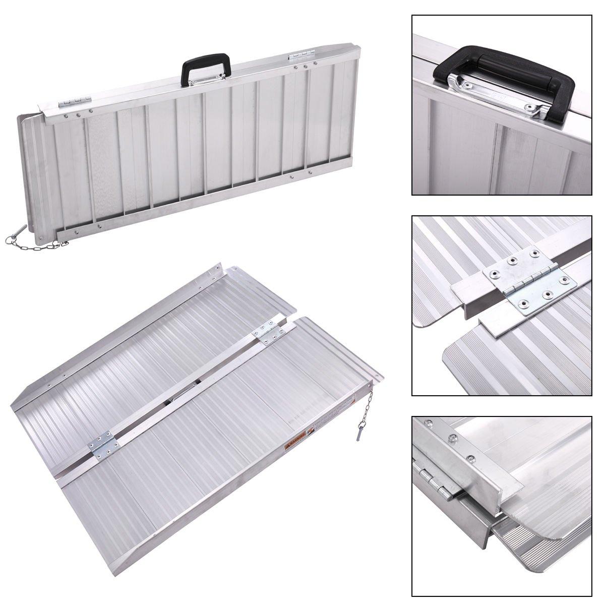 Folding Portable Aluminum Threshold Mobility Wheelchair Ramp w/ Handle