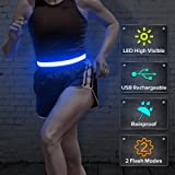BSEEN LED Running Belt, USB Rechargeable Reflective Glowing LED Waist Belt, Flashing Safety Lights Band for Runners, Joggers, Walkers, Pet Owners, Cyclists
