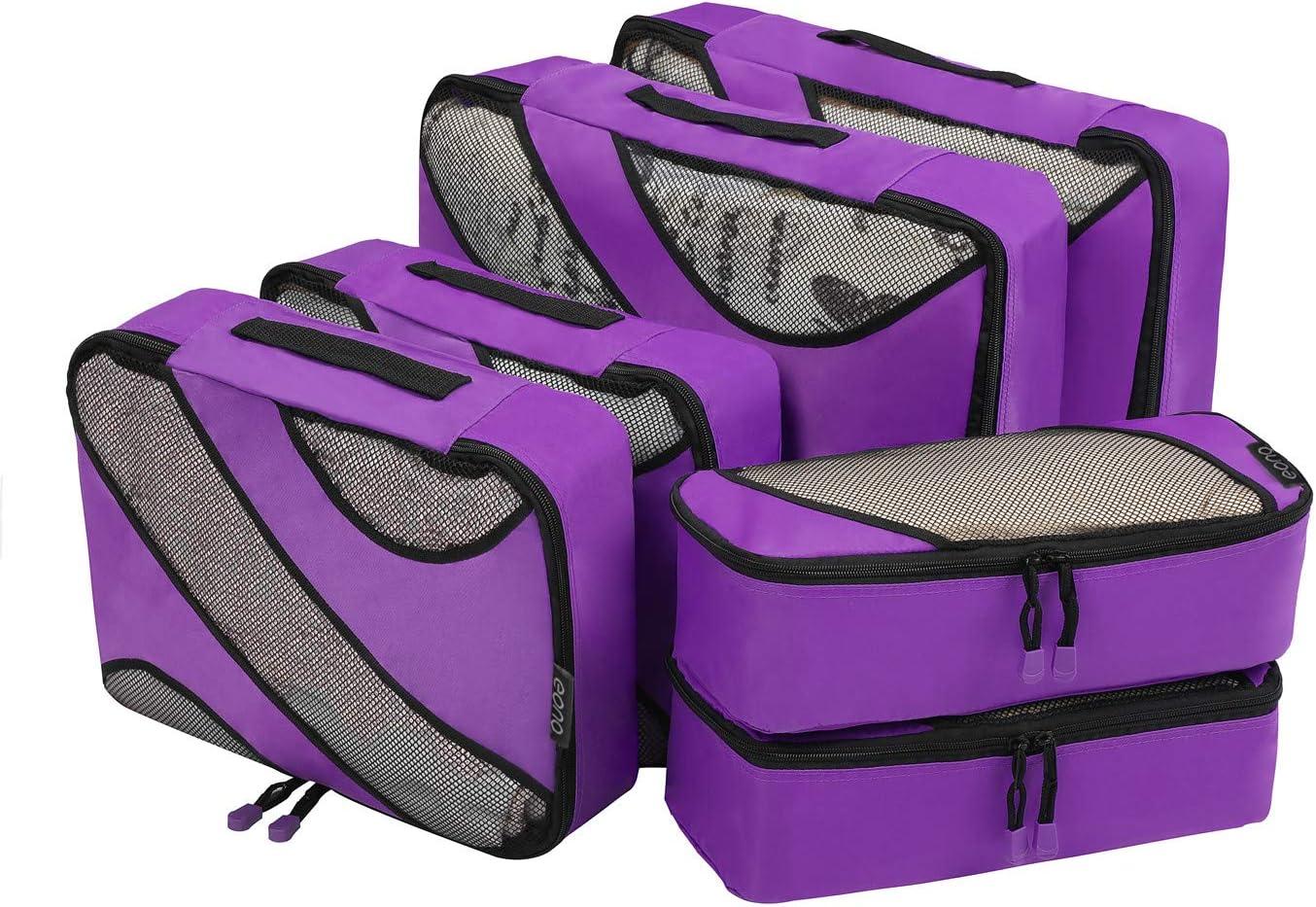 Eono by Amazon - Organizadores de Viaje Cubos de Embalaje Organizadores para Maletas Travel Packing Cubes Equipaje de Viaje Organizadores Organizadores para el Equipaje, Morado,6 Pcs