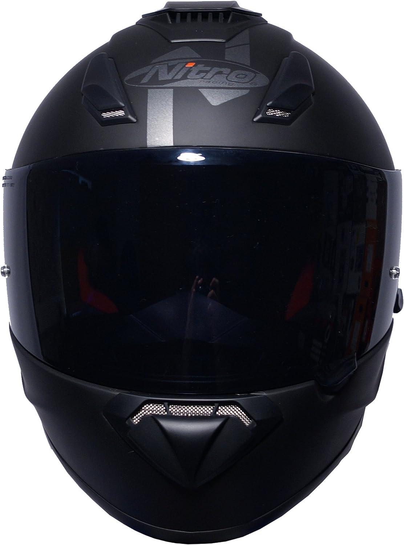 Casque de moto int/égral et occultant Nitro N3100/ Noir mat Visi/ère fonc/ée incluse