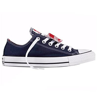 11cd1c3a759 Amazon.com | Converse Womens Chuck Taylor All Star Double Tongue Ox Navy  White Canvas Trainers 7 US | Fashion Sneakers