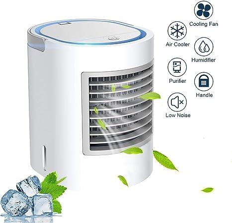 Anbber Aire Acondicionado móvil 4 en 1 multifunción USB portátil, Mini Aire Acondicionado, humidificador y purificador de Aire con luz Nocturna, 3 Niveles de Potencia para Camping en el hogar: Amazon.es: Hogar