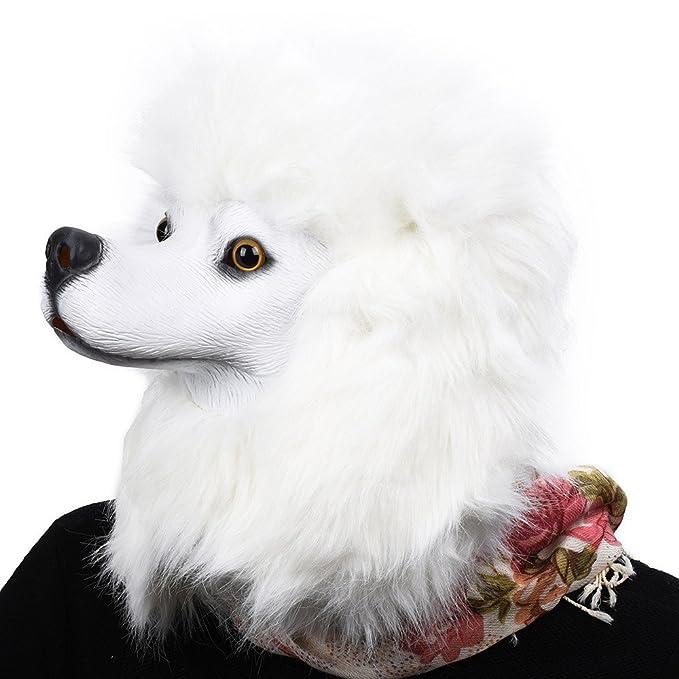PARTY STORY Poodle Dog Mask Latex Animal Full Head Mask