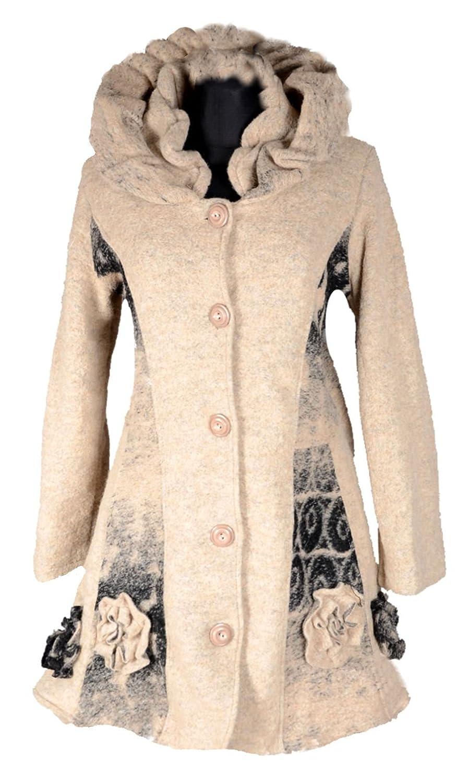 Damen Wolle Lagenlook Patchwork Wintermantel Mantel