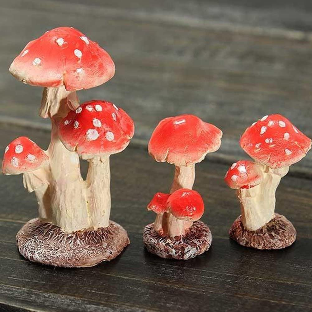 Vorcool 2/Head Mushroom Mushroom Miniature Fairy Garden Terrarium Toy Doll Doll Decor 1.8/* 1.7/cm x 3/cm
