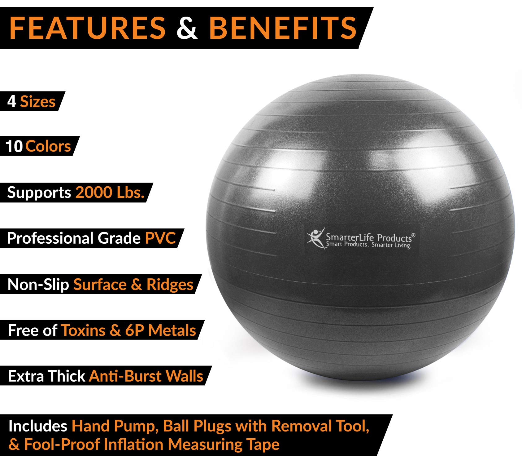 Exercise Ball for Yoga, Balance, Stability from SmarterLife - Fitness, Pilates, Birthing, Therapy, Office Ball Chair, Classroom Flexible Seating - Anti Burst, Non Slip + Workout Guide (Black, 65cm) by SmarterLife Products (Image #2)