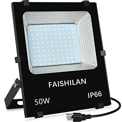FAISHILAN 50W LED Flood Light Outdoor IP66 Waterproof With US 3 Plug 5000Lm  For Garage