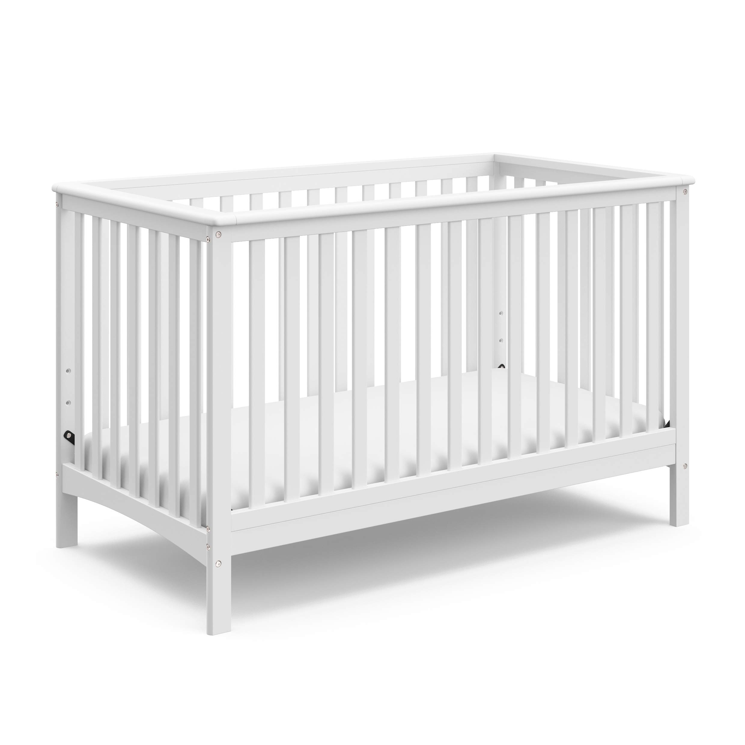 Storkcraft Hillcrest Fixed Side Convertible Crib, White, Easily Converts to Toddler Bed Day Bed or Full Bed, Three Position Adjustable Height Mattress, Some Assembly Required (Mattress Not Included) by Storkcraft