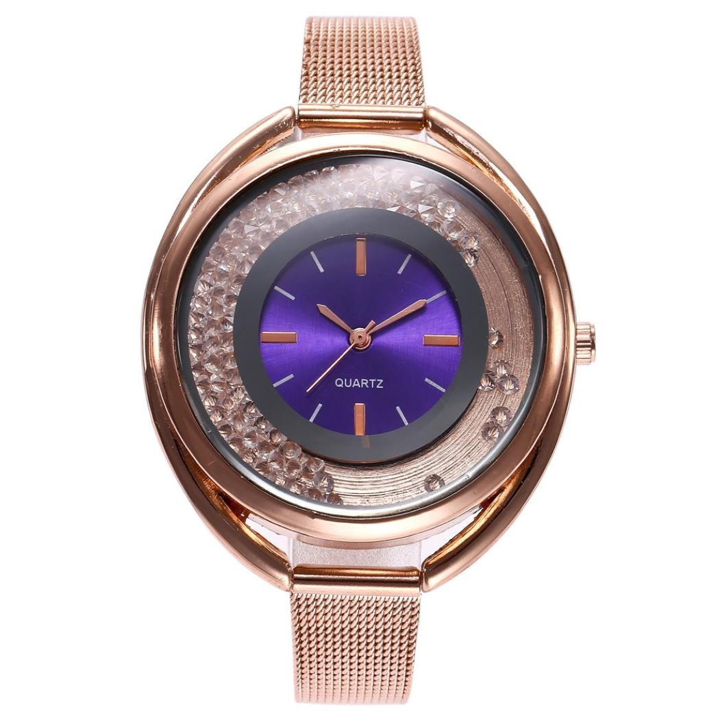 Nmch Women Luxury Crystal Watches Stainless Steel Watch Quartz Analog Alloy Wrist Watch Big Promotion! (B)