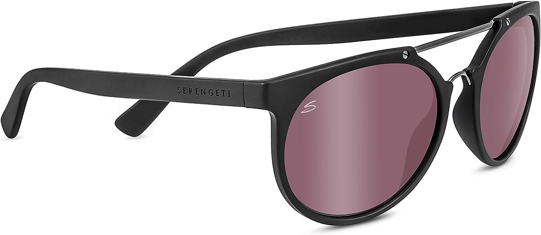 Satin Black//Shiny Dark Gunmetal Serengeti Lerici Polarized Sunglasses