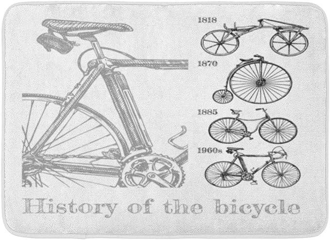Kanaite Estera de baño Bicicleta Evolución en Tinta Estilo Tipos Ciclos Draisine Penny Farthing Seguridad y Modern Racing Racing Baño Decoración Alfombra: Amazon.es: Hogar