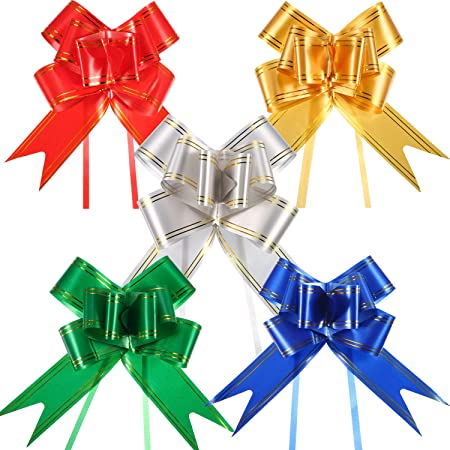 48 Pieces 4.5 Inches Wide Gift Pull Bows Christmas Gift Wrap Pull Bows with 48