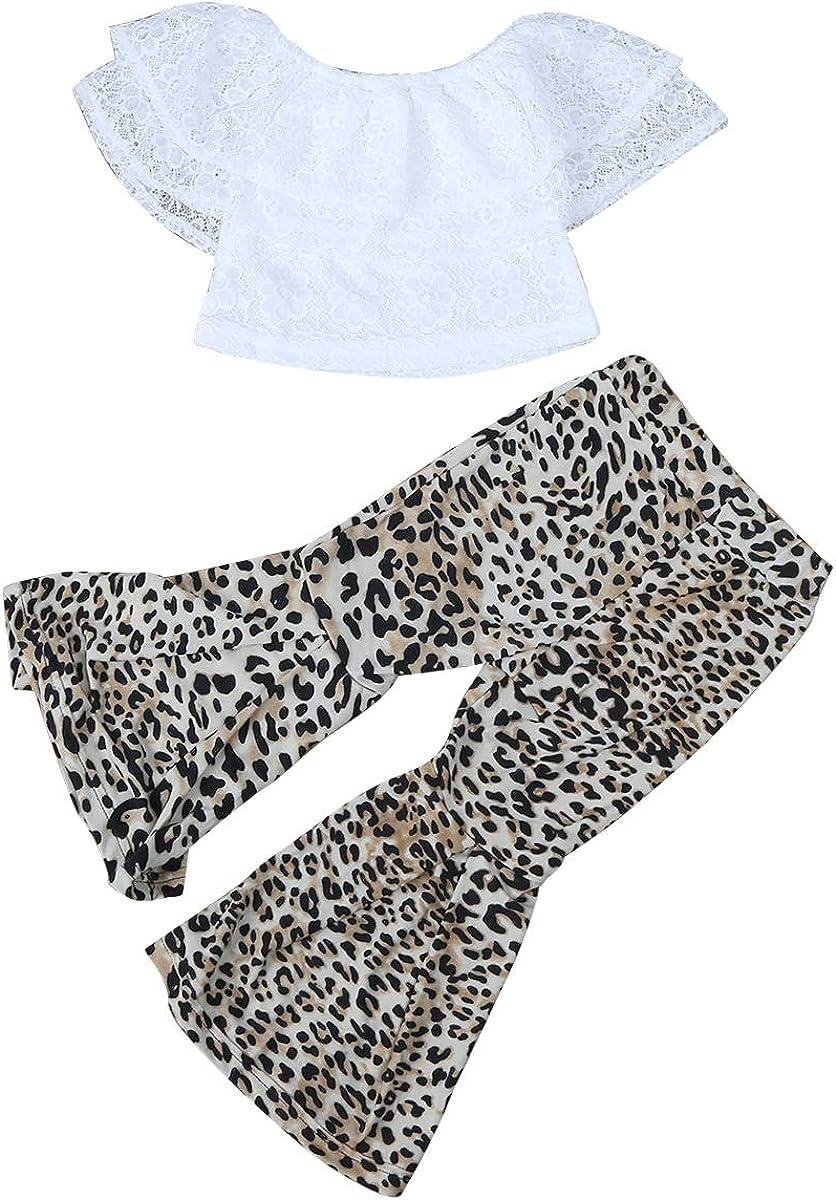Pantaloni Stampa Leopardo Flare Pantaloni Chennie 2 Pezzi//Set Estate Casual Bambini Imposta Camicia Collo Collo Top