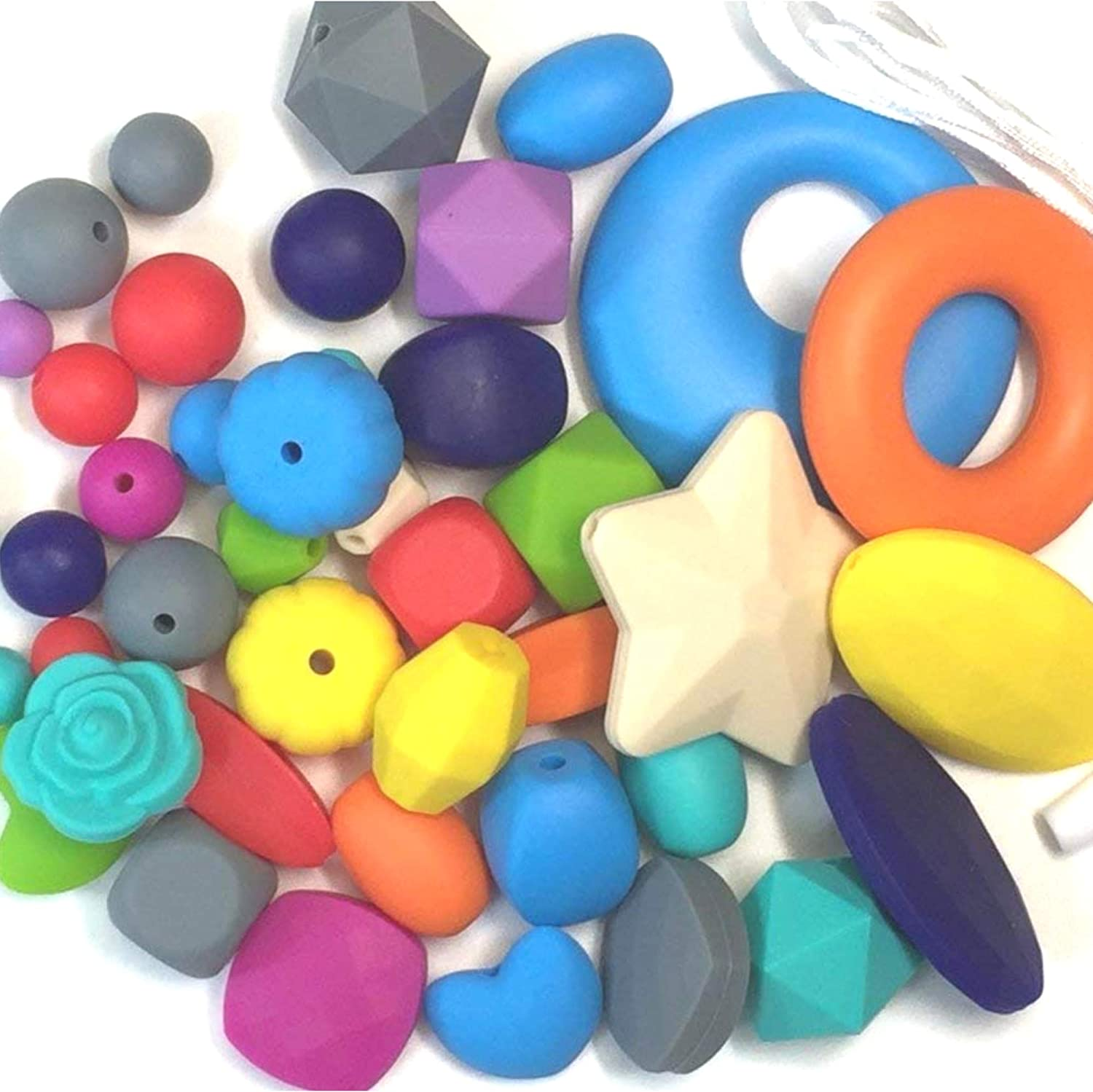 50PC Original Silicone Chew Bead Crafting Set, Assorted Colors, Shapes (Round & Non-Round) & Sizes, Includes Nylon Rope & Clasps for Necklaces and Bracelets, Jewelry Kit