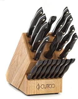 "product image for CUTCO Model 2018 Homemaker+8 Set............Includes (8) #1759 Table Knives, (10) Kitchen Knives & Forks, #1748 Honey Oak knife block, #82 Sharpener, and #125 Medium Poly Prep cutting board.......... High Carbon Stainless blades and Classic Brown handles (sometimes called ""Black"").........in factory-sealed plastic bags."