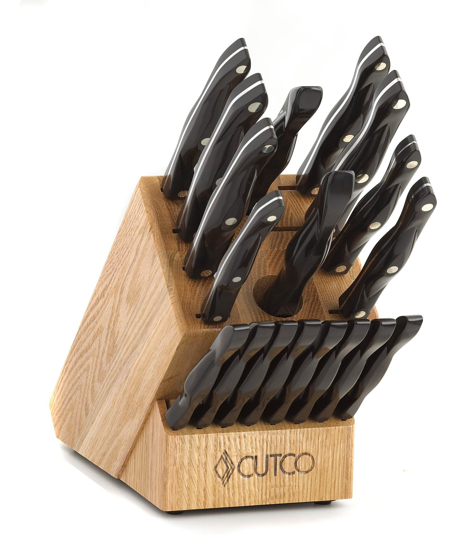 CUTCO Model 1818 Homemaker Set + 8 with #1725 full size chef knife...............18 High Carbon Stainless knives & forks with Classic Dark Brown (often called ''Black'') handles in factory-sealed plastic bags............#1748 Honey Finish Oak knife block, #
