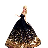 Yacool® 1 PCS High quality Fashion Wedding Party Gown Bling Dresses & Clothes for Barbie Doll- Black