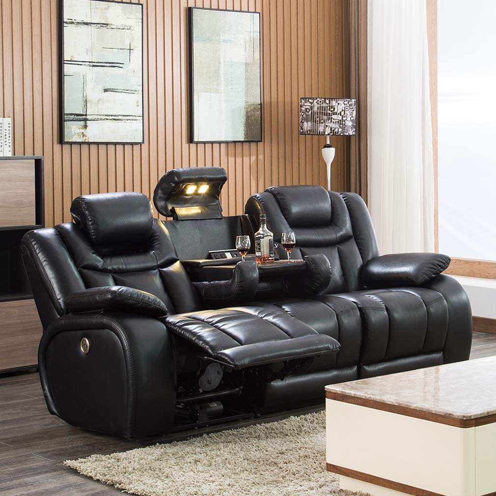 Reclining Sofa Home Theater Seating Power Sofa Theater Recliner Sectional Sofa with Adjustable Headrests and Storage,Fold-Down Table,AC/USB and Cup Holders by FDW