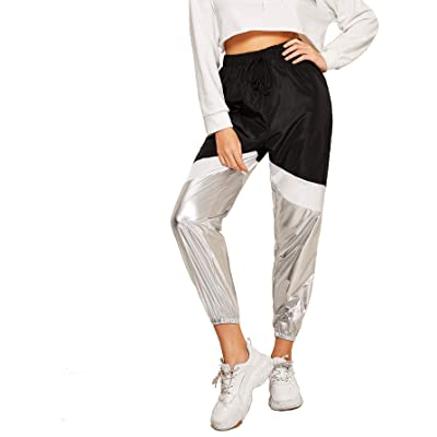 Romwe Women's Color Block Sweatpants Loose Metallic Contrast Workout Jogger Tapered Pants at Amazon Women's Clothing store