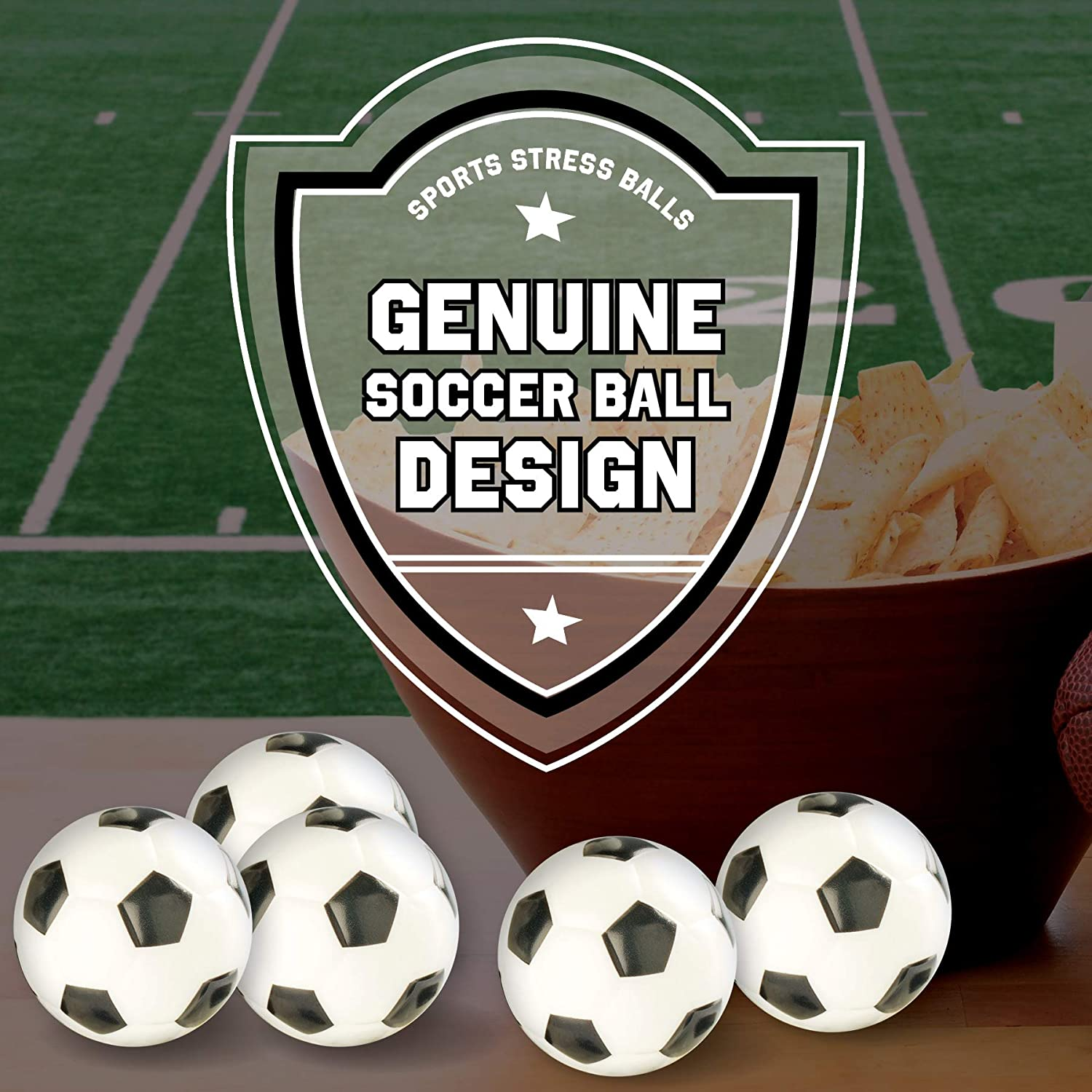 Soccer Sports Stress Balls Bulk Pack of 12 Relaxable 2 Stress Relief Soccer Squeeze Balls