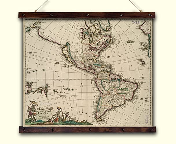 500 Year Old Map Of America.Amazon Com Ancient Map Of The American Continent Canvas 1650 Year