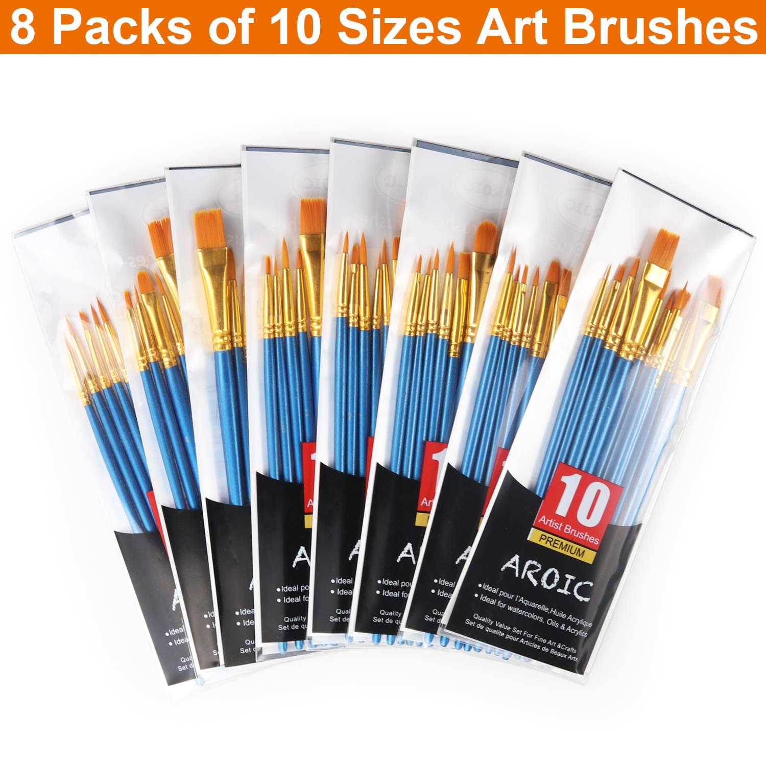 Nylon Hair Brushes for Acrylic Oil Watercolor Painting Artist Professional Painting Kits Paint Brush Set 80 Pack