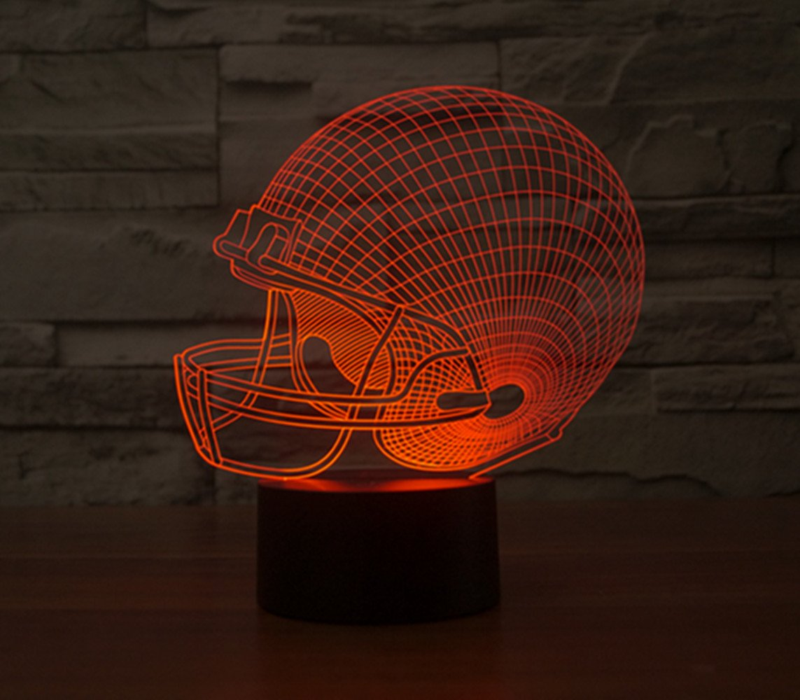 3D Illusion Lamp, FLYMEI Football Helmet Night Light Desk Lamp For Home  Decor 7 Colors Changing USB Powered Touch Button Table Night Lamp   BEST ...