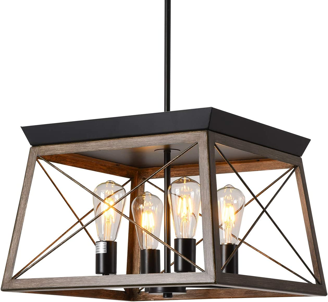 PUSU Kitchen Island Light Fixture Farmhouse Style 1-Light Open-Caged with Hand Make Brown Wooden Grain Finish