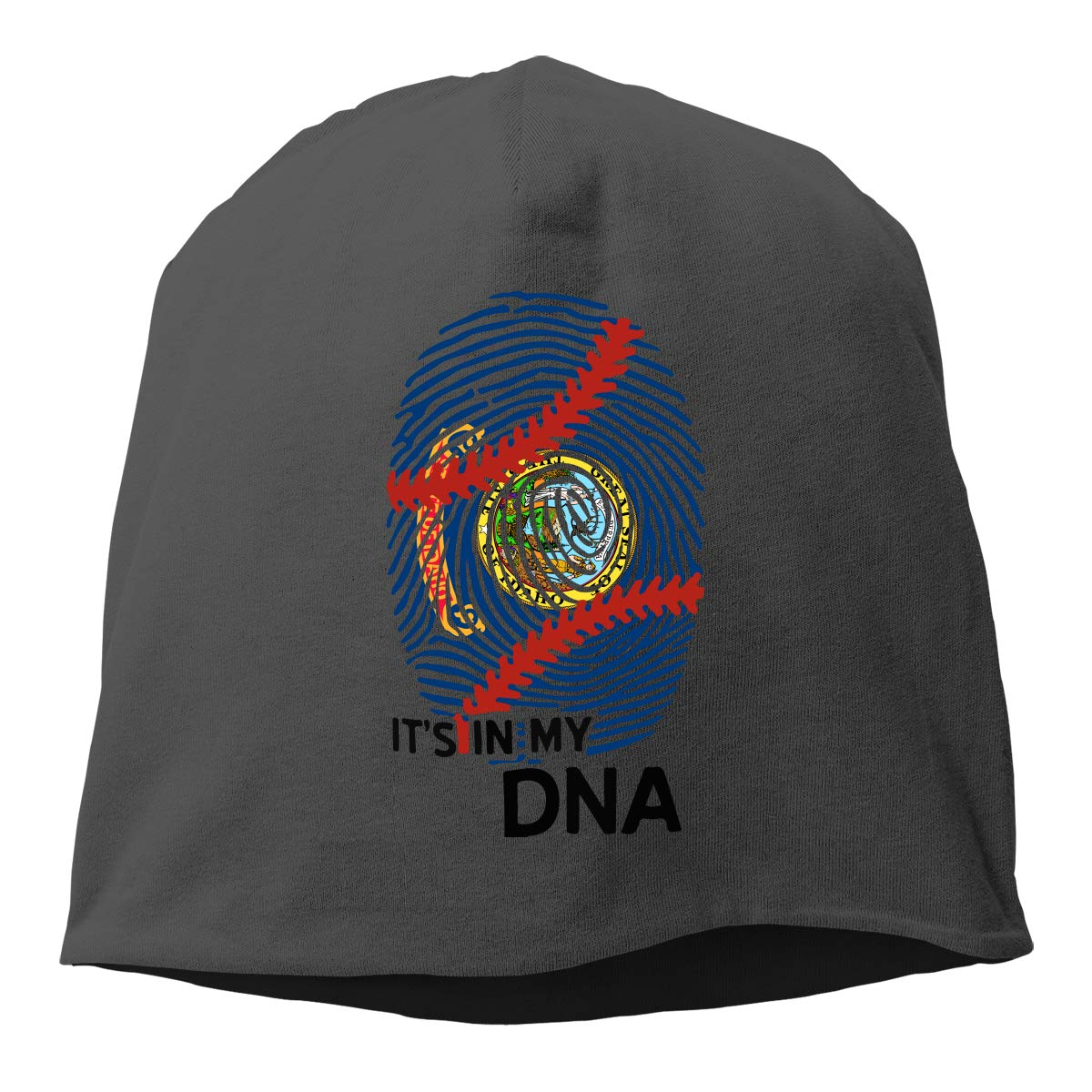 Idaho State Flag Baseball in My DNA Beanie Skull Cap for Women and Men Winter Warm Daily Hat