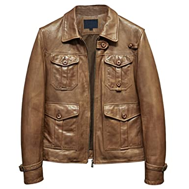 578dc9c21a Denny Dora Mens Leather Jacket Hunting Sheepskin Jacket Motorcycle  Outerwear Casual Coat (Brown