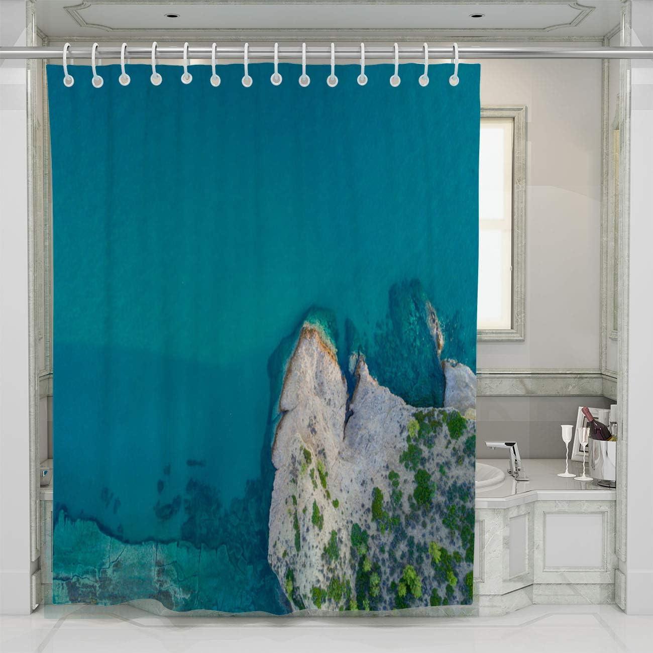 BEISISS Creative Home Bathroom Shower Curtain,Mediterranean Seashore,Shower Curtains for Bathroom Waterproof Fabric with Hooks