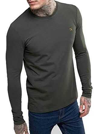 52ba46a2d ZEYO 4 Way Stretch Cotton Olive Full Sleeves Mens Tshirt - Stylish Round Neck  T-Shirt Regular Fit: Amazon.in: Clothing & Accessories